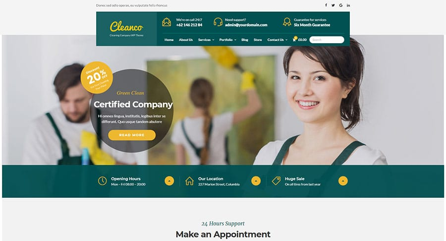 Cleanco - Cleaning Service Company WordPress Theme