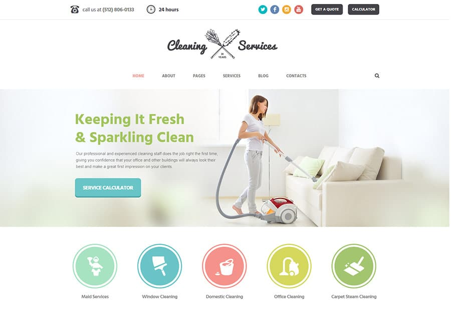 Cleaning Company - Maid & Janitorial Service WordPress Theme